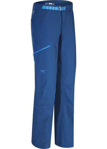 Versatile, lightweight, trim fitting women's softshell pants designed for multi-pitch rock climbing.