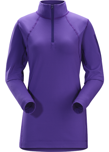 Women's lightweight Torrent™ zip neck base layer for lower output activities in cool temperatures.