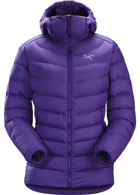 Versatile women's insulated hoody made with durable Arato™ 40 face fabric and lofty 750 fill grey goose down. Functions as a cold weather midlayer or standalone piece in cool, dry conditions. Down Series: Down insulated garments | AR: All-Round.