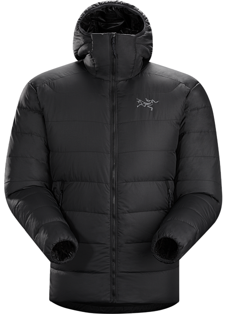 Very warm, thigh length, box wall constructed 750 fill grey goose down hoody with a light, durable Arato™ 40 face fabric. Down Series: Down insulated garments | SV: Severe Weather.