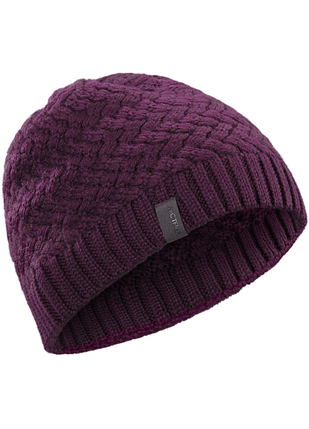 Lattice style waffle knit provides visual interest to this medium weight unlined toque in a form fitting silhouette.