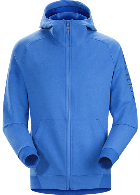 Classic casual full-zip hoody in a cotton-blend performance fabric.