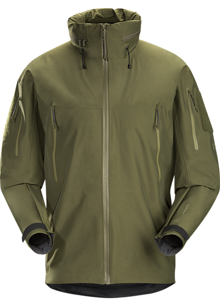 Durable waterproof/breathable shell jacket for inclement conditions.