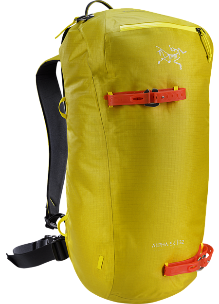 Fast and light, durable, highly weather resistant customizable daypack for ski touring and ski alpinism. Alpha Series: Alpine focused systems | SK: Ski and snowboard specific design.