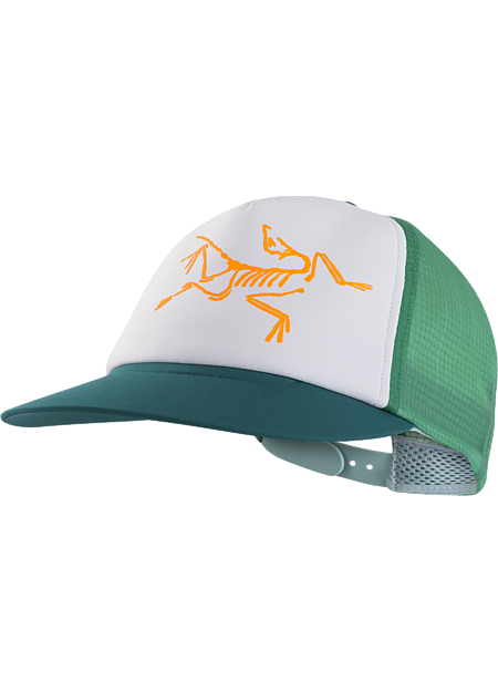 Highly air permeable and hydrophobic trucker hat with a large bird logo.