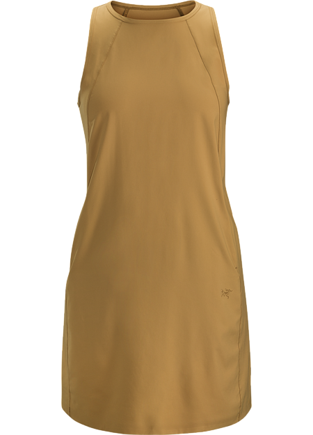 Casual sleeveless dress constructed with stretchy, quick drying fabric that is ideal for hot weather or while travelling.