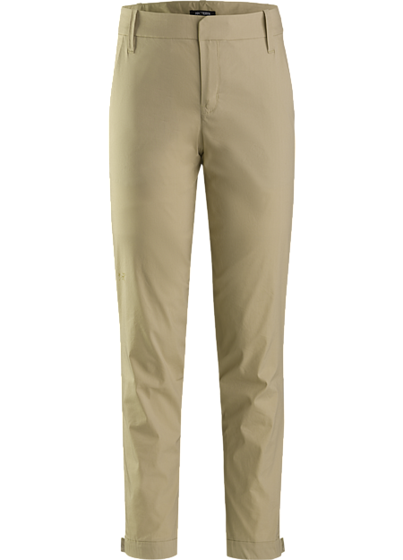 Casual cotton blend pant with an adjustable cuff and tapered leg.