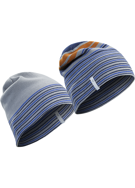 A warm, uptempo hat that can be worn full stripes out, or as a solid hat with a striped headband.