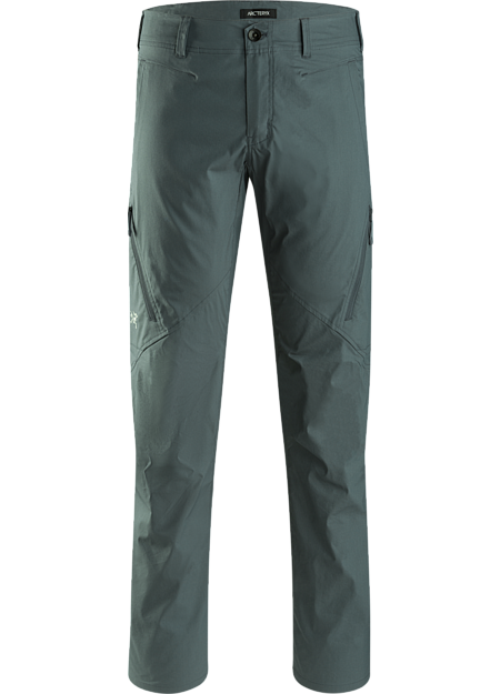 Lightweight, durable, air permeable, trim fitting cargo pant constructed from a stretch cotton/nylon blend material.