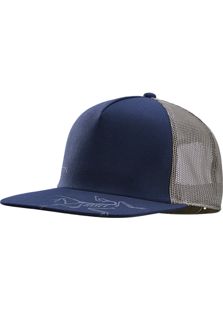 Bird Brim Flat Trucker Hat  Cobalt Moon/Symbiome