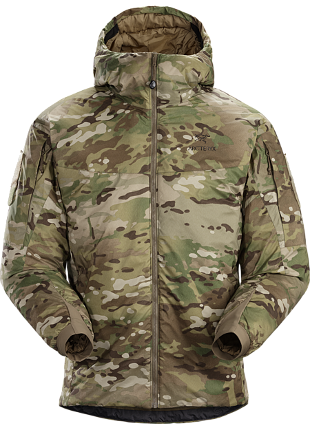 A synthetic insulated cold weather windproof MultiCam® hooded jacket.