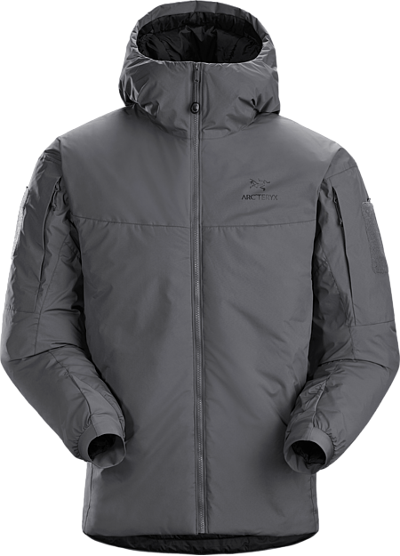 A synthetic insulated cold weather windproof hooded jacket.