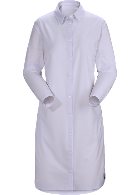 Casual long sleeve shirt constructed with stretchy, quick drying fabric that is ideal for hot weather or while travelling.