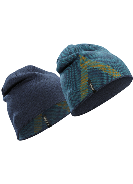 Close fitting wool blend reversible toque with an Arc'teryx