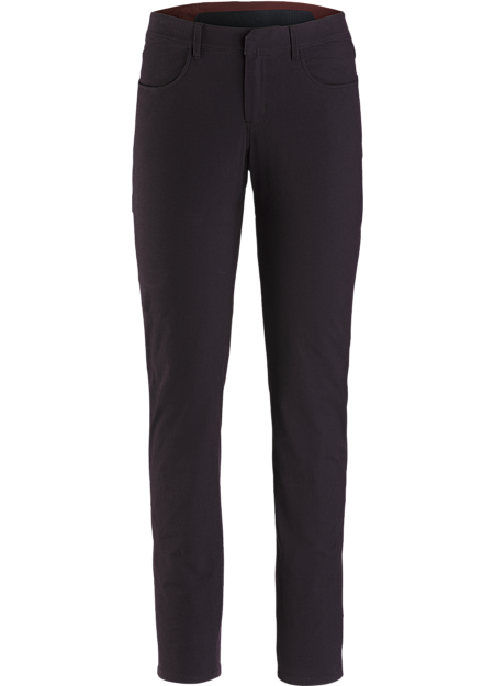 Trim fitting women's cotton nylon blend pant with stretch and casual style.