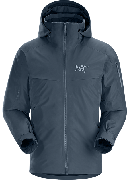 Waterproof GORE-TEX, down insulated jacket designed for cold days on-area skiing and snowboarding.