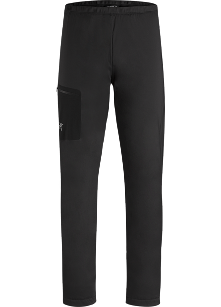 Synthetically insulated pant balances air permeability and thermal protection for alpine and rock climbing.