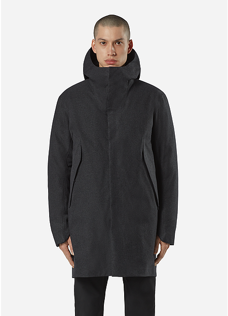 Down insulated, waterproof thigh-length coat with ample storage.