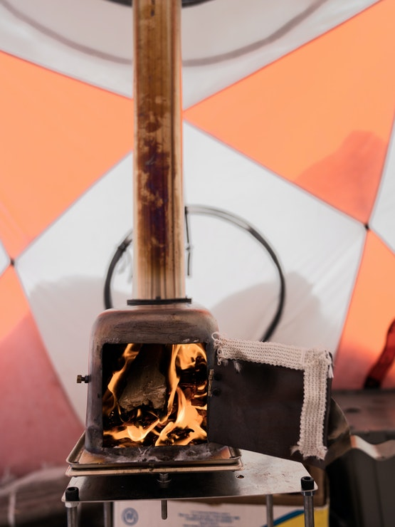 Open stove inside tent