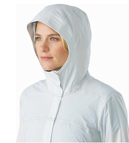 A2B Windbreaker Jacket Women's Ionic Sky Helmet Compatible Hood Front View