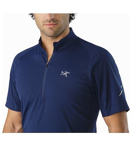 Accelerator Zip Neck Shirt SS Inkwell Open Collar