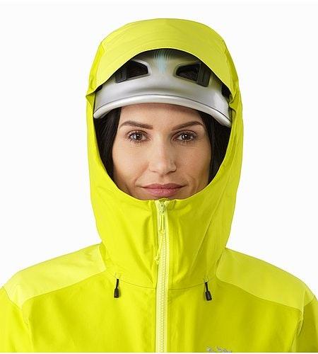Alpha AR Jacket Women's Chartreuse Helmet Compatible Hood Front View