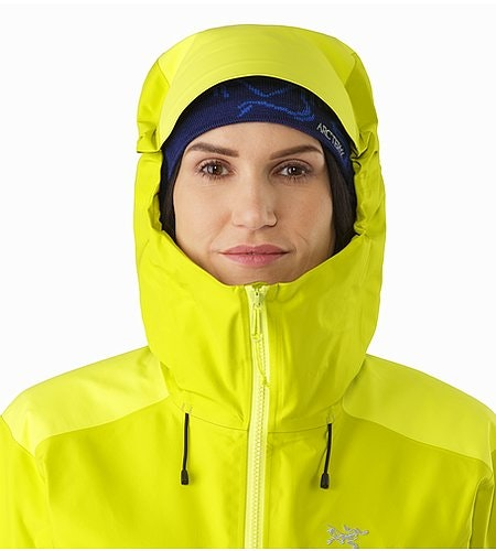 Alpha AR Jacket Women's Chartreuse Hood Front View