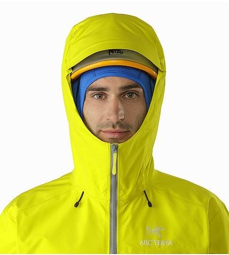 Alpha FL Jacket Lichen Helmet Compatible Hood Front View