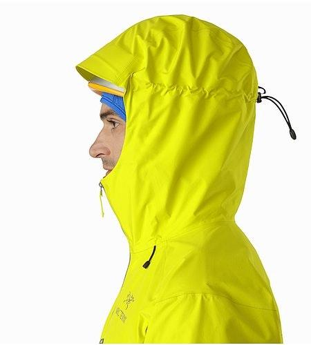 Alpha FL Jacket Lichen Helmet Compatible Hood Side View