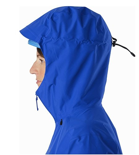 Alpha FL Jacket Women's Somerset Blue Helmet Compatible Hood Side View