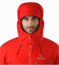 Alpha IS Jacket Magma Hood Front View