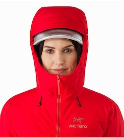 Alpha IS Jacket Women's Magma Helmet Compatible Hood Front View