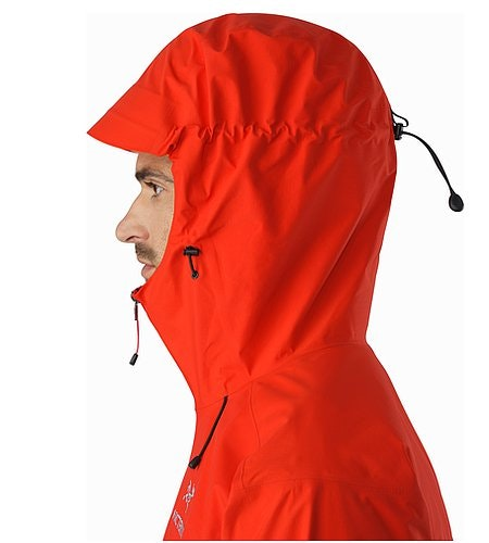 Alpha SL Jacket Magma Helmet Compatible Hood Side View