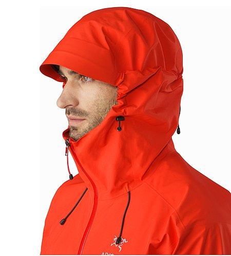 Alpha SL Jacket Magma Hood Side View