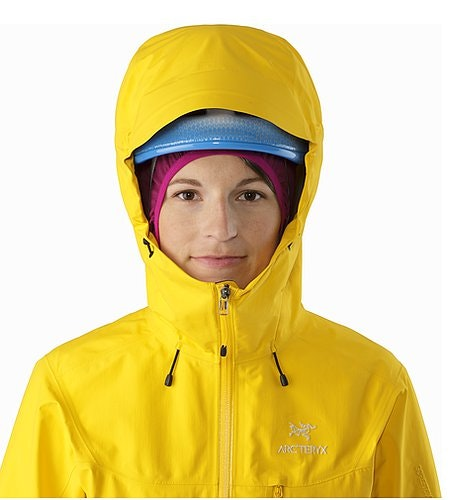 Alpha SL Jacket Women's Golden Poppy Helmet Compatible Hood Front View