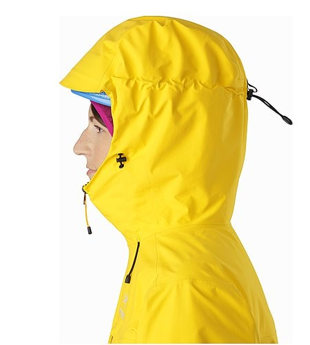 Alpha SL Jacket Women's Golden Poppy Helmet Compatible Hood Side View