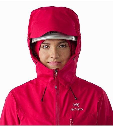 Alpha SL Jacket Women's Radicchio Helmet Compatible Hood Front View