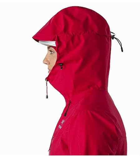 Alpha SL Jacket Women's Radicchio Helmet Compatible Hood Side View