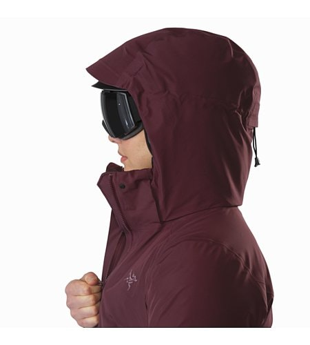 Andessa Jacket Women's Crimson Helmet Compatible Hood