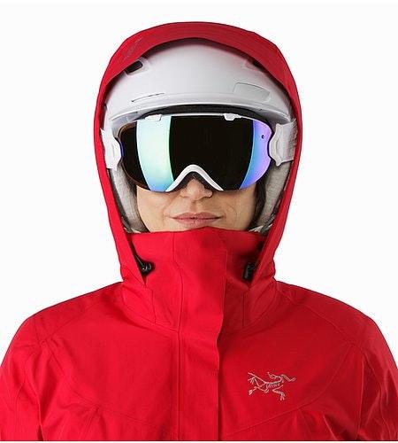 Andessa Jacket Women's Radicchio Helmet Compatible Hood Front View
