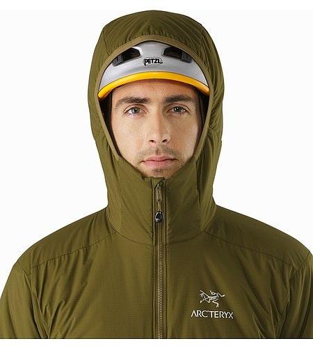 Atom AR Hoody Dark Moss Helmet Compatible Hood Front View