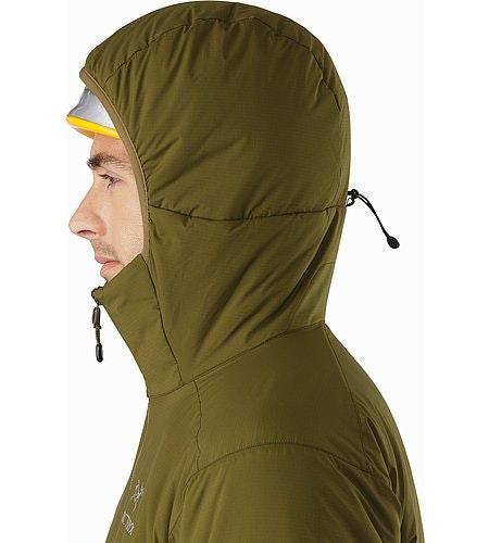 Atom AR Hoody Dark Moss Helmet Compatible Hood Side View