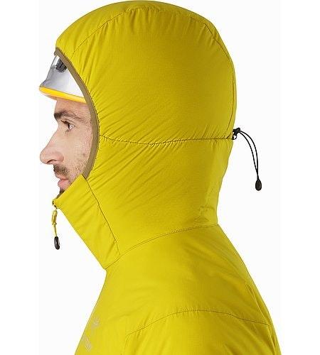 Veste à capuche Atom LT Woad Capuche compatible avec un casque Vue de profil