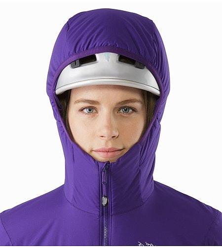 Atom LT Hoody Women's Azalea Helmet Compatible Hood Front View