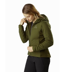 Chaqueta con capucha Atom LT para mujer Bushwhack: Vista abierta