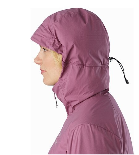 Atom SL Hoody Women's Amaranth Hood Side View