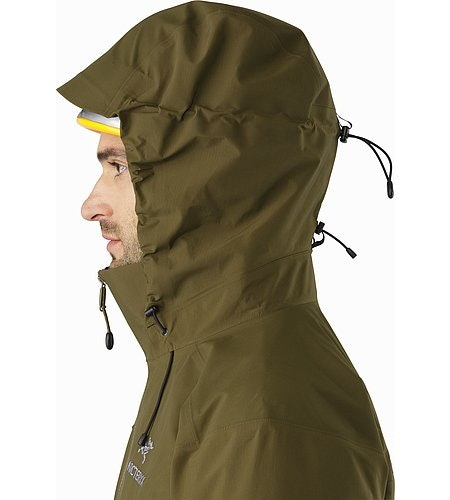 Beta AR Jacket Dark Moss Helmet Compatible Hood Side View