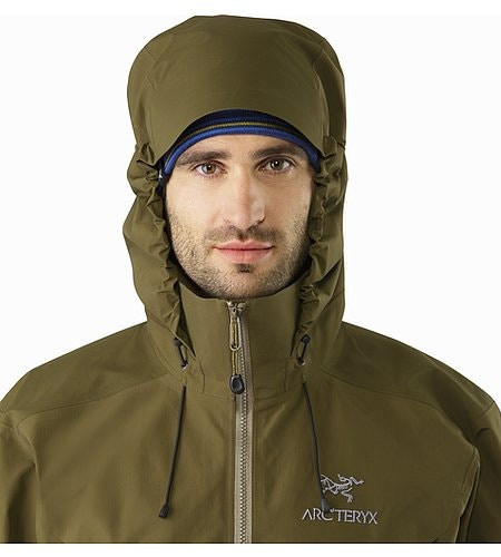 Beta AR Jacket Dark Moss Hood Front View