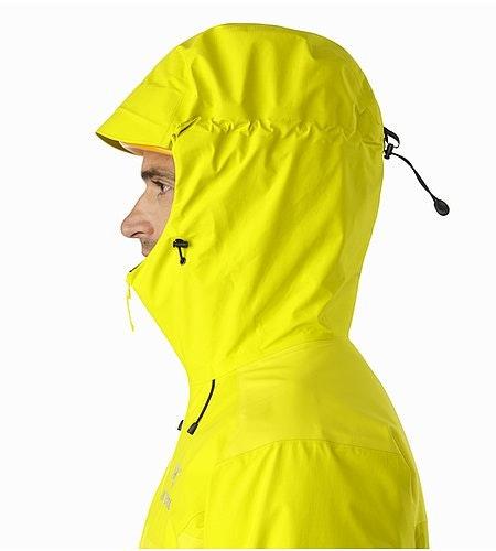 Beta SL Hybrid Jacket Lichen Helmet Compatible Hood Side View