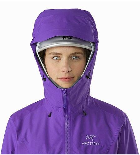 Beta SL Hybrid Jacket Women's Mauveine Helmet Compatible Hood Front View